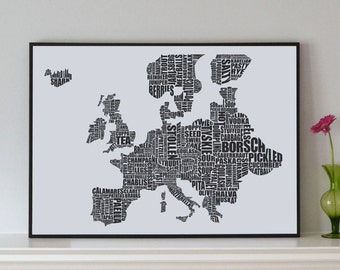 Europe Gastronomy map print