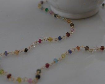 14k Gold and Multi Gemstone Necklace