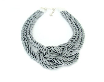 Nautical Rope Statement Necklace, Silver Grey Knotted Bib Necklace