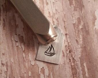 6mm Sailboat Metal Stamp by ImpressArt. Nautical, Ship, Boat, Sailing Ocean DIY Hand Stamped Jewelry, Impress Art Sail Boat. We ship FAST!