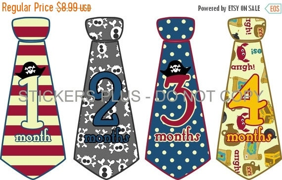 SALE Baby Month Stickers Baby Boy Monthly Neck Tie Necktie Stickers Pirate Skull Bones Stripes Dots Blue Red Gray 1-12 or 13-24 Month