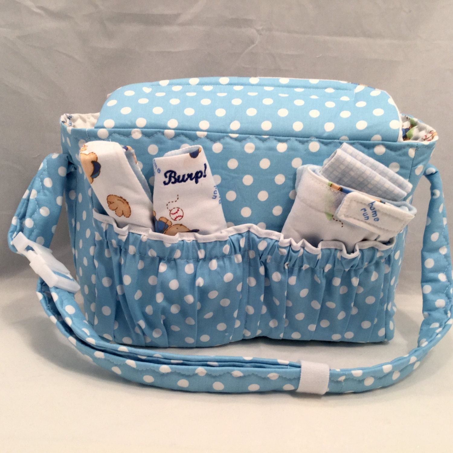 boy doll size diaper bag in blue and white polka dots with. Black Bedroom Furniture Sets. Home Design Ideas