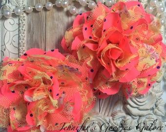 """BRIGHT Pink Chiffon Flowers, Yellow Lace, Set of 2, Shabby Chic, Frayed Chiffon, Lace Rose Flowers, 3.5"""""""