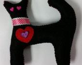 valentine kitty, heart kitty, black kitty, handmade,  black cat, stuffed kitty toy