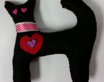 valentine kitty, heart kitty, black kitty, handmade,  black cat, stuffed kitty toy
