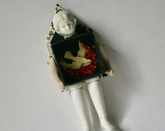 Art Doll House with Vintage Doll Parts for Home or Office Decor