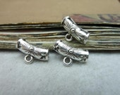 25pcs  10*16mm Antique Tibetan Silver Hand carved linked head Bail Tube Beads,Spacer Bead,Bail beads,Bead Hanger fitting