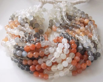 "9"" strand MULTI COLOR MOONSTONE faceted gem stone round beads 5mm - 5.5mm grey orange"