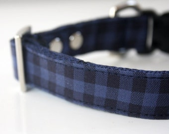 Buffalo Plaid Dog Collar - blue, black