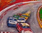 Nascar Wall Art Giclee Print on Canvas of the Original Painting - Race Fan Kevin Harvick Art at Daytona National Speedway