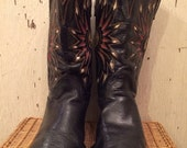 Sale 1950s Acme Black Cowboy Boots with Red Gold and White Inlays size 10 1/2
