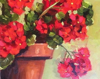 Original oil painting: Red Geraniums in Terracotta Pot floral still life, impressionism, red, green, flowers