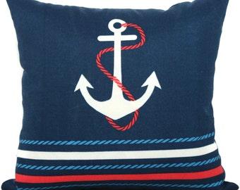 Blue Anchor Pillow Indoor Outdoor Decorative Pillow Cover, 17x17, accent pillow, throw pillow