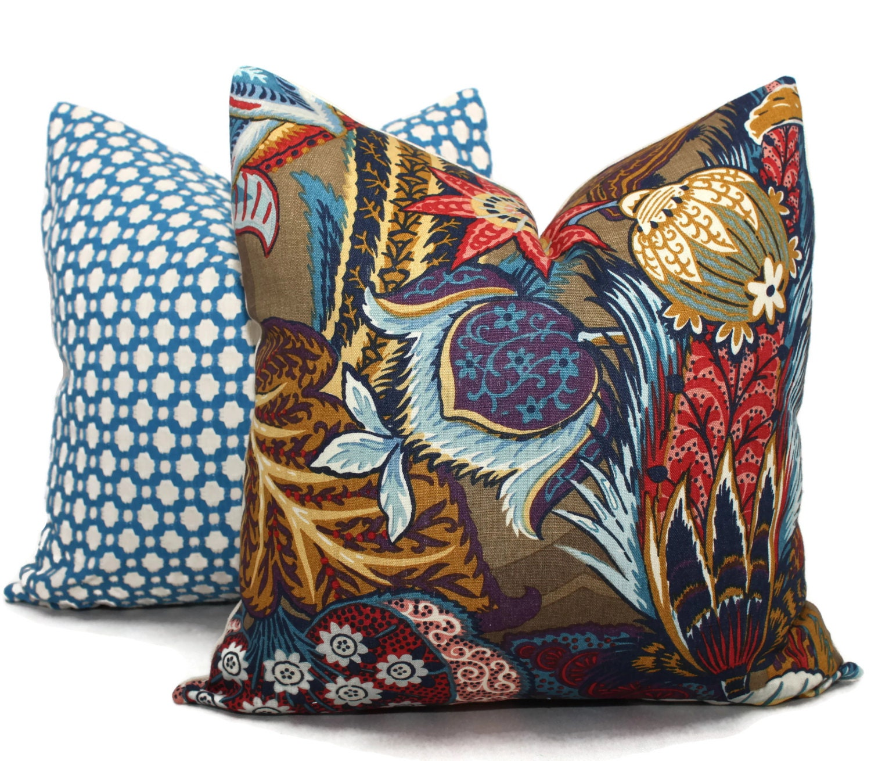 Zanzibar Throw Pillows : Zanzibar Sapphire Decorative Pillow Cover 18x18 20x20 22x22