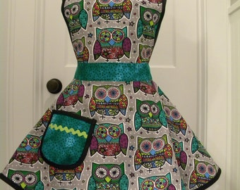 Womens Aprons-PLUS SIZE-Stained Glass Owls Full Apron