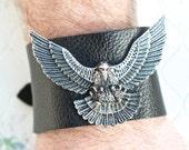 Eagle Wide Leather Cuff in Black  Mens Bracelet  Rock On