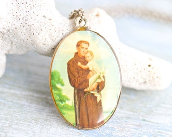 Saint Anthony Medallion Necklace - Colorful Kitsch Religious icon