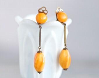 Orange Earrings - Vintage Clip On