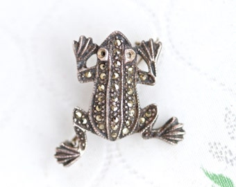 Dark Silver Frog Brooch - Art Deco Marcasite Lapel Pin - Antique Sterling Silver