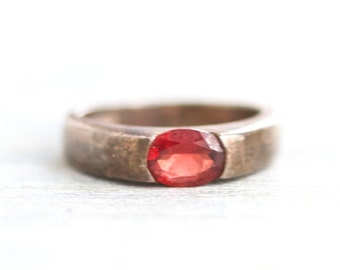 Red Ruby Signet Ring - Dark Sterling Silver - Antique Art Deco Ring - Size 5.5