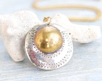 Sun and Moon Brass Disk Necklace - Boho Medallion on Chain