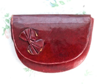 Weathered Aubergine Leather Wallet - Little Coin Purse