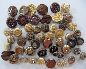 50 German glass buttons, metal like glass buttons, 10 mm to 16 mm, vintage 1950's gold bronze brass buttons, self shanking buttons, Germany