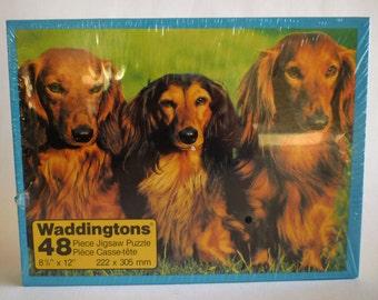 Vintage DogPuzzle, Waddingtons Puzzle, 48 Pcs Dachshund Dogs