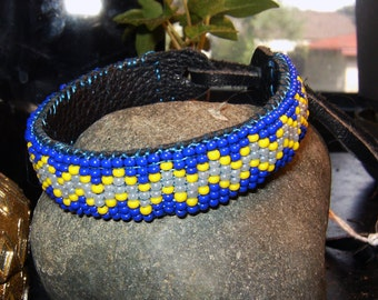Native American style handmade beaded leather bracelet
