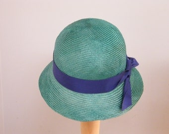 Green straw hat for women / large summer hat / cloche Downton Abbey hat / elegant dress hat
