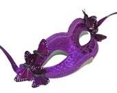 Purple Masquerade Mask - Butterfly Masquerade Mask - Fairy Mask - Costume Ball Mask - Wedding Butterfly Mask