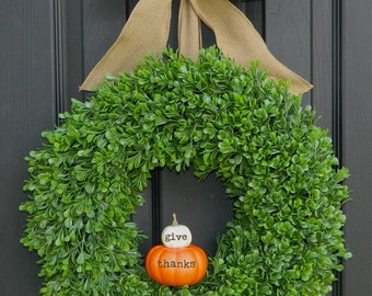 Pumpkin Wreath - Fall Wreath - Thanksgiving Wreath - Autumn Wreath - Quick Ship