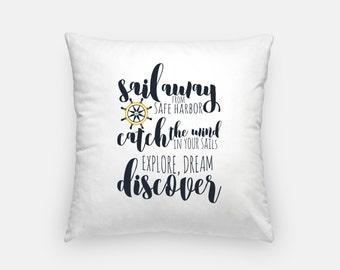 Nautical decor   Sail Away quote pillow   nautical pillow   Mark Twain quote pillow   coastal decor   coastal pillows   16x16 pillow