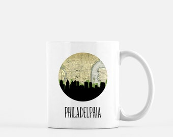 Philadelphia skyline mug | Philadelphia map art mug | Philadelphia mug | Philly print coffee mug | city skyline mug | Philadelphia gift