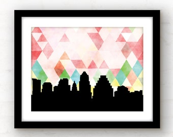 Austin wall art | Austin Texas sign | Austin home decor | Austin Texas home decor | Austin art print | Texas art print | Austin skyline art