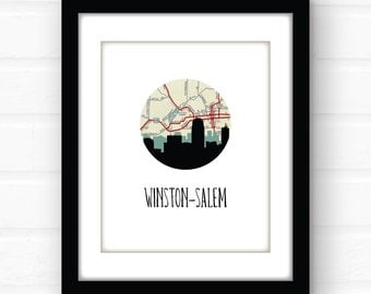 Winston-Salem, North Carolina map art | North Carolina wall art | North Carolina home decor | NC home decor | city skyline prints | map art