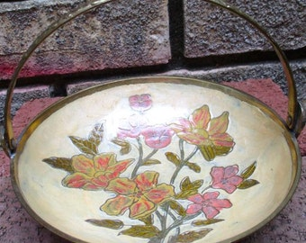 Vintage bowl dish tray solid brass candy mints trinket jewelry holder with handle flowers pink yellow floral design gift decor made India
