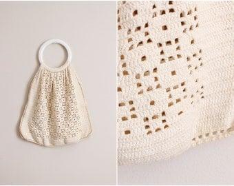 70s Boho Hippie Market Macrame Handbag/ Crochet Purse/ Bohemian Bag