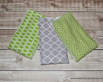 Gender Neutral Baby Burp Cloths Baby Burp Cloths - Gray and Green Burp Cloths Quatrefoil Burp Cloths Grey and Green