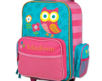 Embroidered Owl Rolling Luggage [back to school, luggage, travel, rolling, wheels, girls, children, owl, pink, embroidered] -gfyE000275