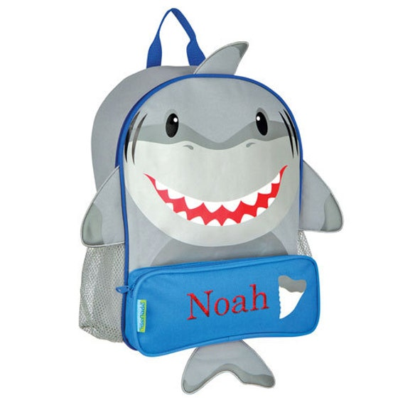 Embroidered Shark Backpack - [backpack, book bag, shark, boys, back to school, blue, school, embroidered, school bag, fun] - E000268