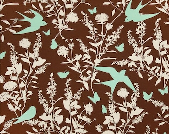 90356 Joel Dewberry Bungalow Swallow study in Chocolate  color Home Dec fabric - 1 yard