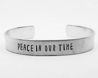 Peace in our time:Avengers Age of Ultron Hand Stamped Aluminum Marvel Iron Man Tony Stark cuff