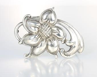 Nordic style Sterling Brooch Flower Viking Craft, 1940s Scandinavian jewelry