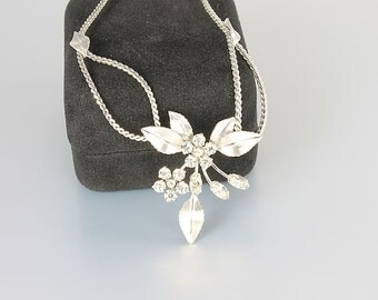 Rhinestone Krementz Necklace, Silver Crystal Flower Necklace Vintage bridal Jewelry