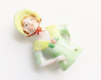 Vintage Porcelain Yellow Bonnet Green Figurine Hat Pin Half Doll 1940s