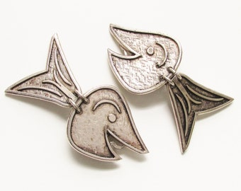 Modernist Patrici Retif Paris Pewter Dangle Fish clip on Earrings 1970s France