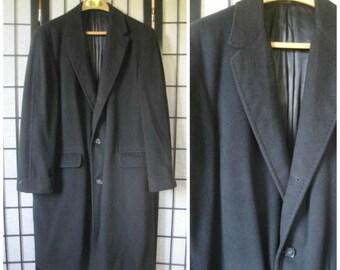 Vintage Cashmere Coat 1950s 1960s 100% Kashmir Black Topcoat 3 Button Notch Collar 42 40 Mens Winter Topper M Medium