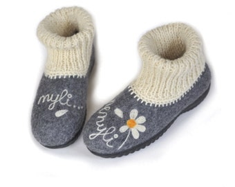 Handmade grey wool felted shoes with rubber soles, personalised