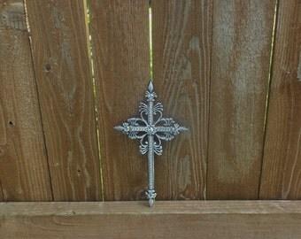 metal crosses, crosses with bling, white cross with clear rhinestones, religious decor, cross, crosses, cross decor, wall crosses